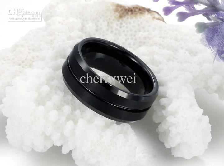 Black Tungsten Carbide Ring Mens Jewelry Wedding Band Size 7~12