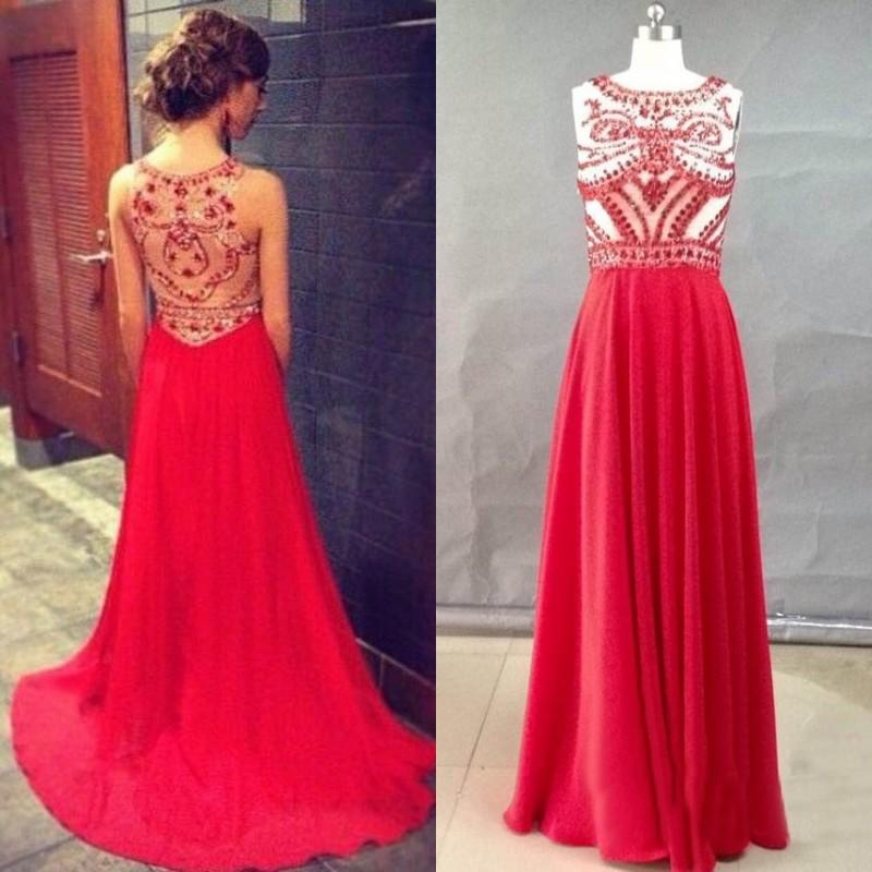 c14f27ef5db Stunning Red Prom Dresses Party Evening Gowns 2015 Spring Sheath Crew Sheer  Back Beaded Top Chiffon Long Formal Cheap Pageant 2014 Vestidos