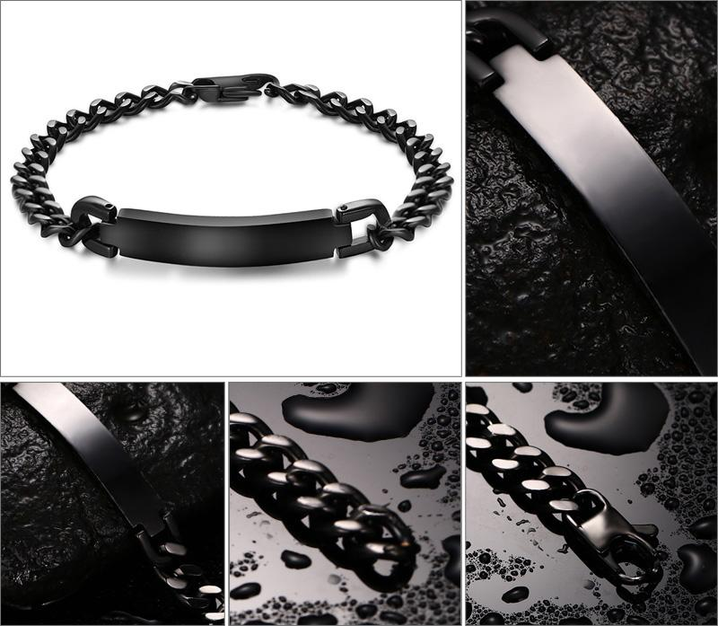 Novo Design Popular Presente de Aniversário dos Amantes 7mm Preto de Alta Qualidade Em Aço Inoxidável Suave ID Pulseira De Cristal Charme Jóias