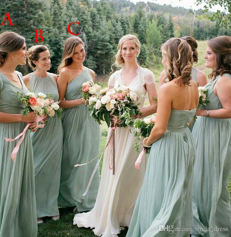Country Beach Wedding Dresses Mint Green A Line Chiffon Pleats Floor Length Bridesmaid Long Sb114 Childrens Bridesmaids Chocolate