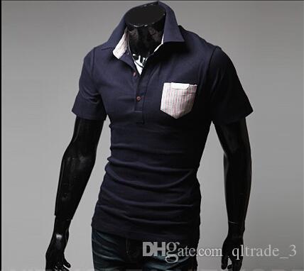 ポケットストライプマッチングカラーポーラズマッチングスリムフィットレジャーカラー半袖ポーロスシャツ