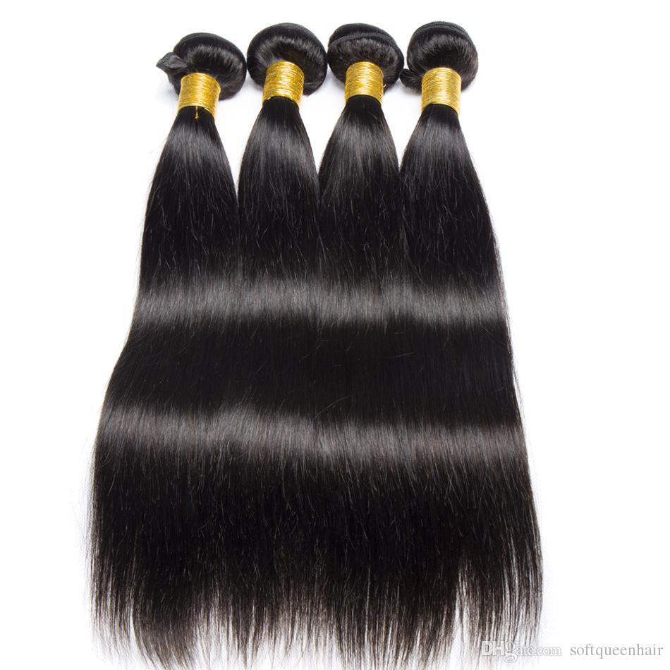 Nerz 8a Brasilianisches gerades Menschenhaar 100% brasilianisches reines Haar Gerade unverarbeitetes brasilianisches gerades Haar Weave Bundles Wholesale Soft
