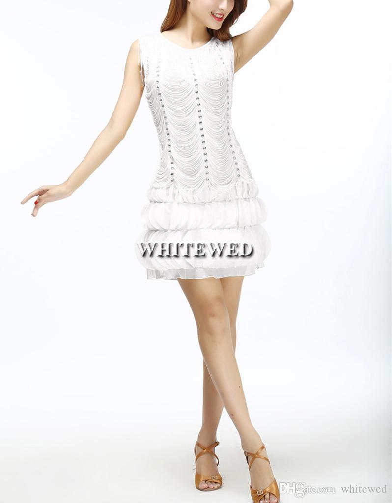 Fashion Tassel Fringe Beaded 1920s Style Embellished Flapper Ball Cocktail Dresses Clothing Gowns Wear Costumes Flower Petal Hem White