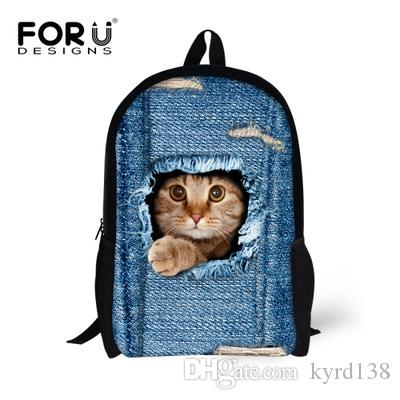 8e062c9c479b FORUDESIGNS Hot Sales Backpack Cowboy Cat Printing Backpacks for Children  School Teenage Girls Bags Pug Dog Bagpack Mochila Bag Cute Pet Cat Dog  Children ...