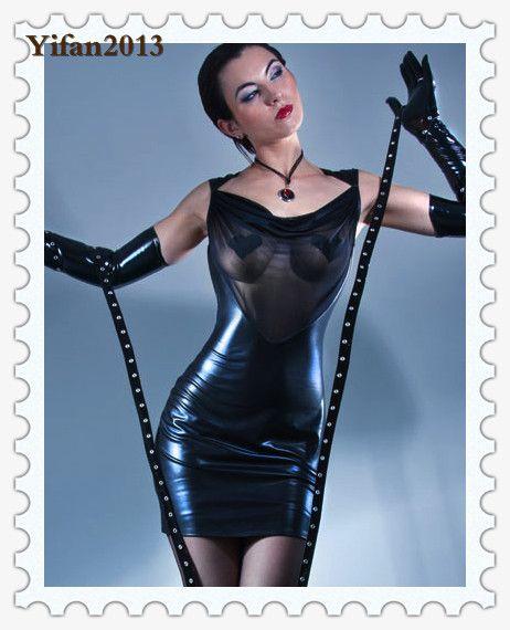 Plus S-XXL 2015 Hot Women Sexy Leather Latex Dress Front Transparent Gauze Bodycon Dress Sexy Queen Stripper Pole Dance Clubwear