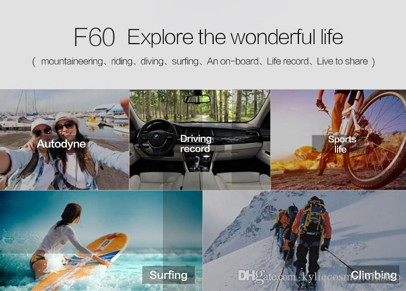 2017 New Cheapest 4K Action Camera F60R WIFI 2.4G Remote Control Waterproof Video Camera Dv 16MP/12MP 4K 30FPS Diving Recorder With Box
