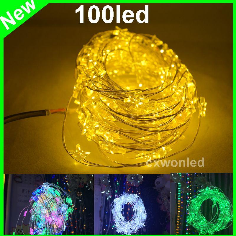 DHL gratuit 10m 100 Guirlandes de cuivre Lampes au LED 12V LED Fée lumière décoration lumière LED en forme d'étoile de lumières pour Noël
