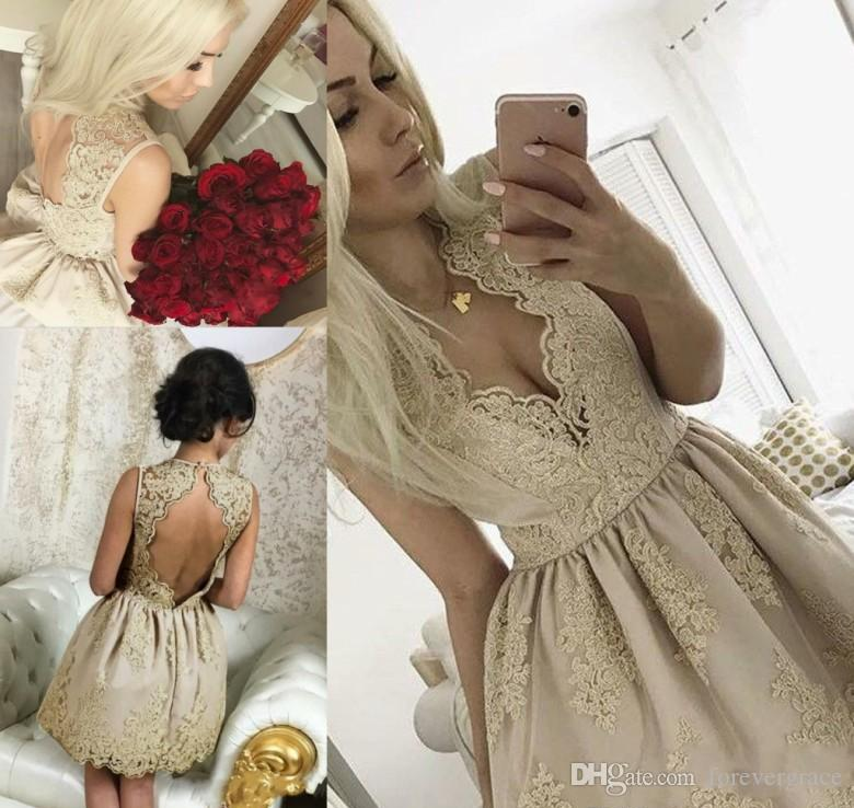 8e32f58b783 2018 Cheap Champagne Lace Short Homecoming Dress A Line Keyhole Juniors  Sweet 15 Graduation Cocktail Party Dress Plus Size Custom Made White Short  ...