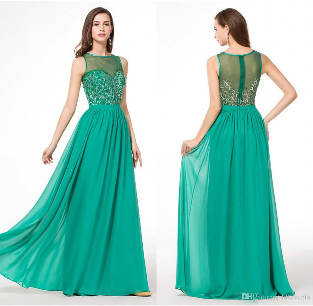Emerald Green Chiffon Embroidery Evening Dresses Princess Style New Arrival  Germany Floor Length Lime Green Cheap Ruffle 2016 Abendkleider Lace Long  Evening ... c022a6377