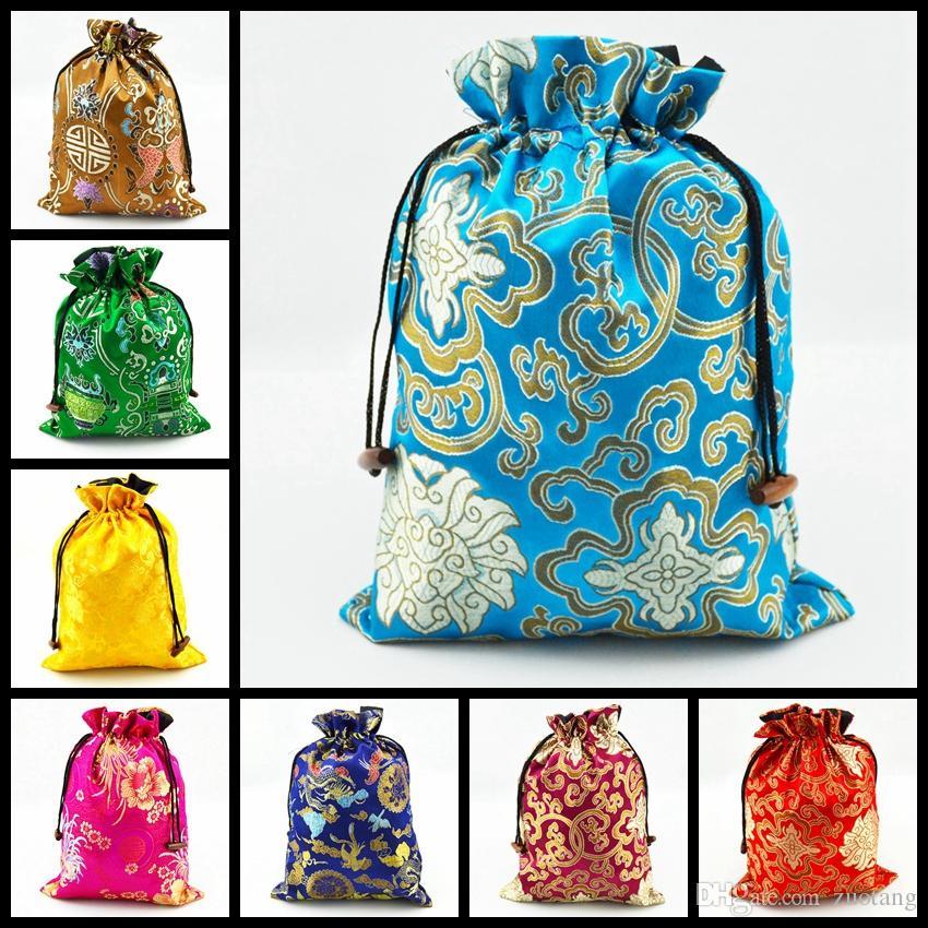 Prachtige Bunk Trekkoord Bra Ondergoed Reistassen Opslag Zijde Brocade Gedrukt Gift Verpakking Pouches 10 Stks / partij Mix Kleur GRATIS VERZENDING