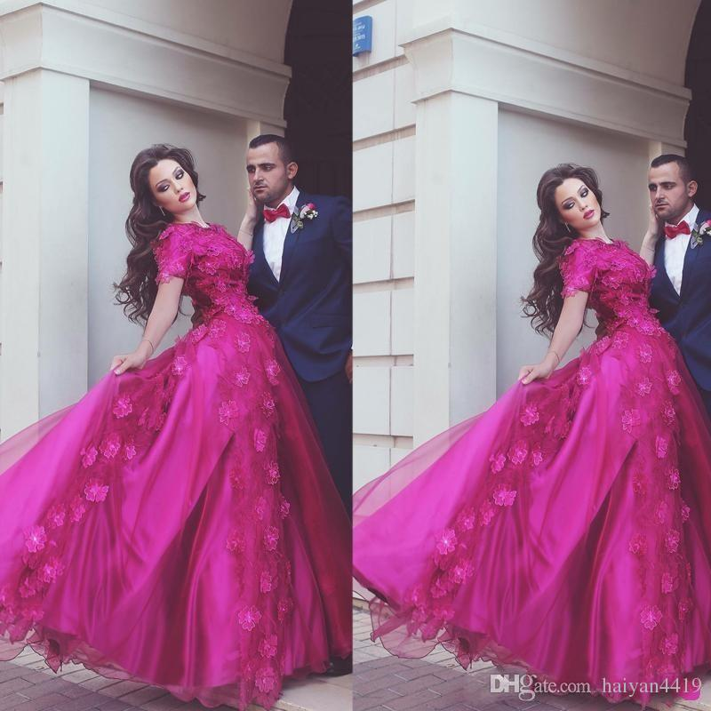 2018 Fuchsia Prom Dresses Jewel Neck 3D Applique Tulle Lace Short Sleeves Floor Length Vestidos Plus Size Pageant Dress Party Evening Gowns