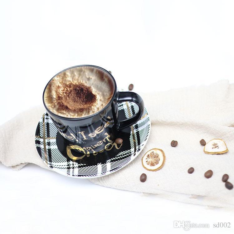 Ceramic Cup English Letter Gilding Coffee Mug Heat Resistant Drinkware Gift Many Styles Black 9 5qj C R