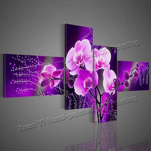 Well known 2018 Wall Art Modern Abstract Acrylic Flower Purple Orchid Oil  TY53