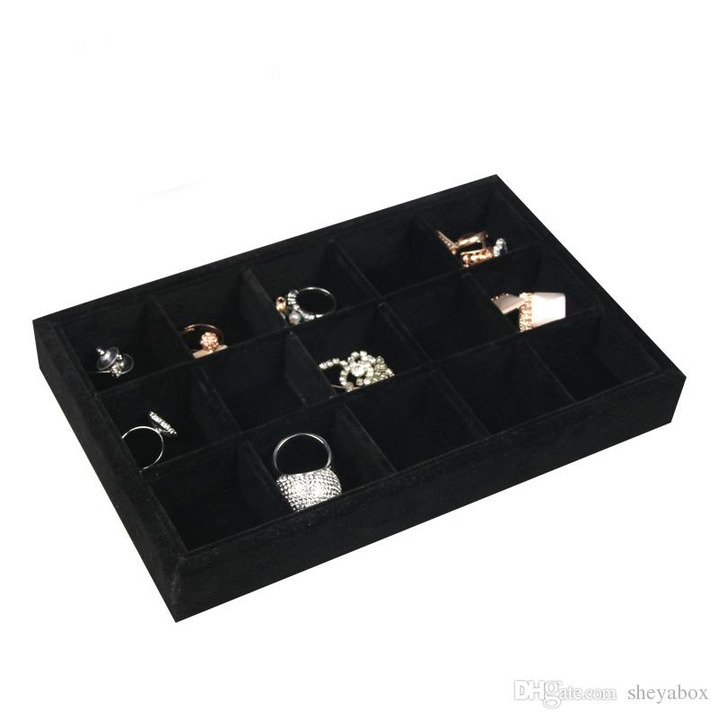 Velvet Jewelry Accessories Tray with Glass Cover Crafts Badges Pendant Nail Arts Storage Case Dust Proof Organizer Small Size 22*14cm