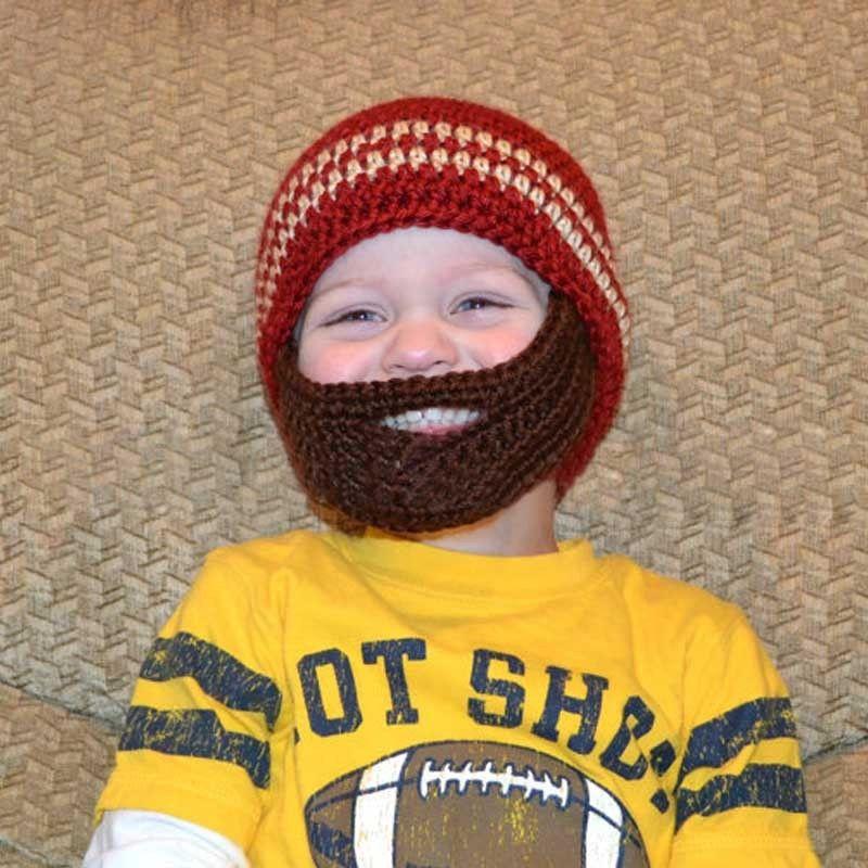 Winter Striped Knit Ski Face Mask Beanie For Kids Crochet Beard Hats ...