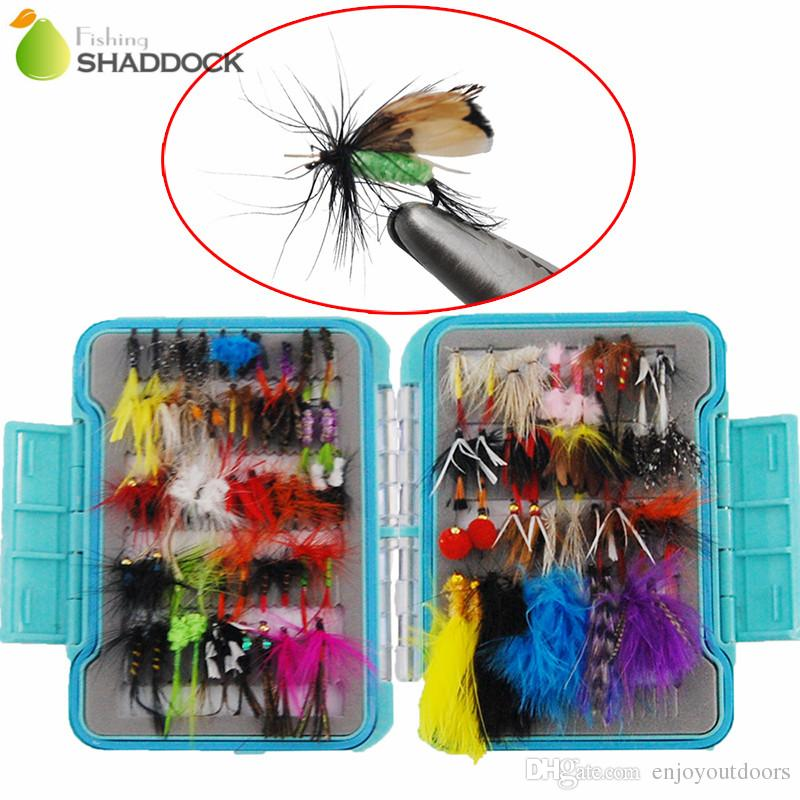 Dry Flies Fly Fishing Lures Trout Feather Tying Fly Fishing Hooks Set With Box