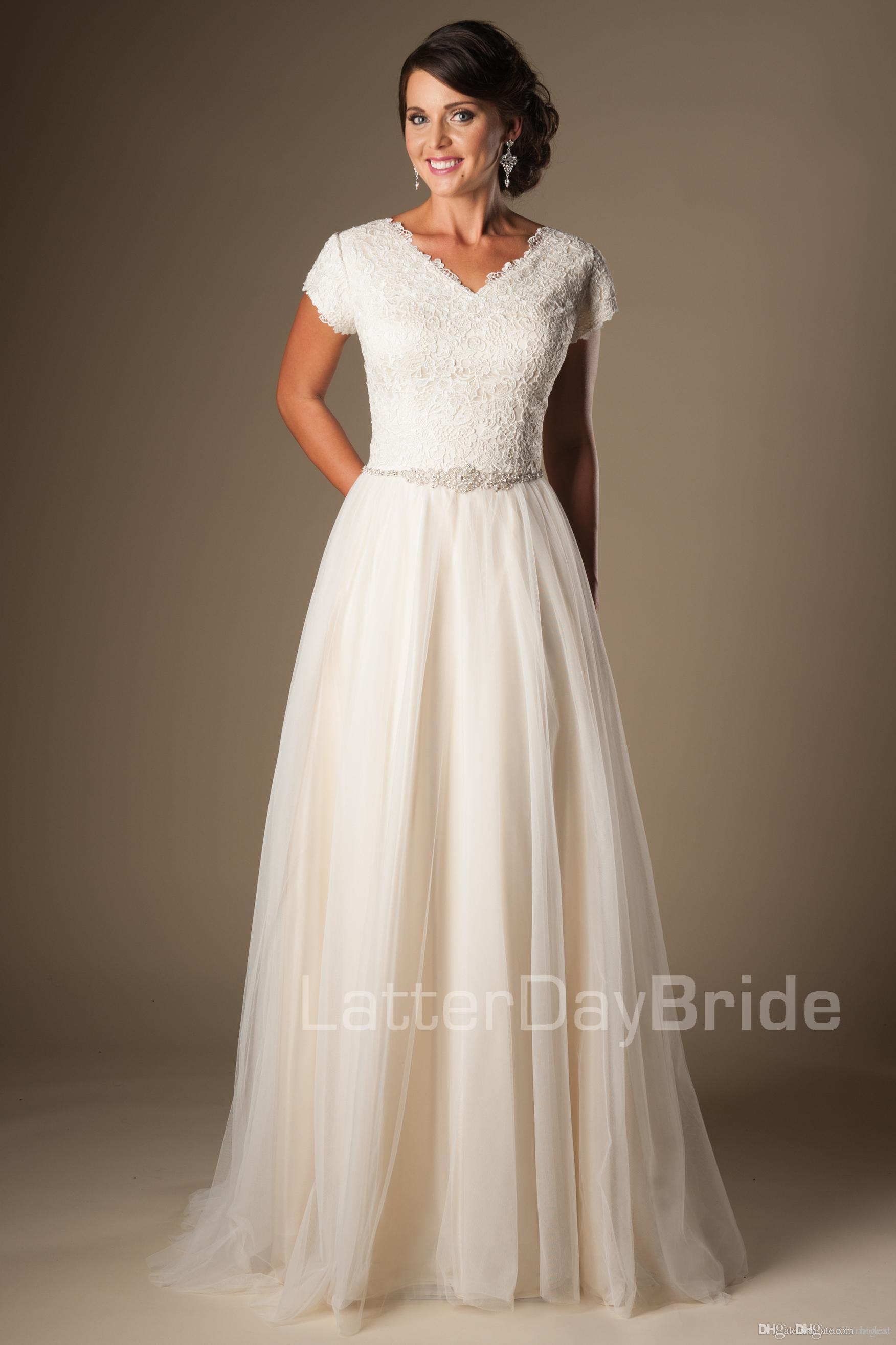 V Neck Short Sleeves Wedding Dress Lace Bodice Ivory Tulle Bridal ...