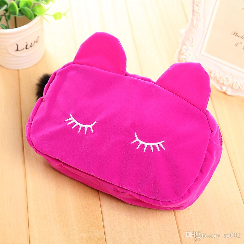 Multi Function Storage Bag Lovely Student Pencil Case Cartoon Cat Cosmetic Bag Multicolor Portable 4 5jm C R