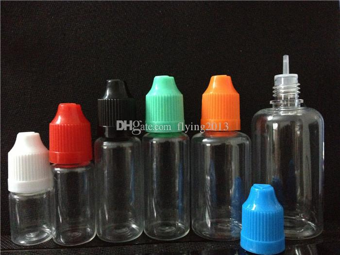 ZJ Clear PET Needle Botles und Flüssigflaschen mit kindersicheren Verschlüssen Lange, dünne Tropfenspitzen 5 ml / 10 ml / 15 ml / 20 ml / 30 ml erhältlich