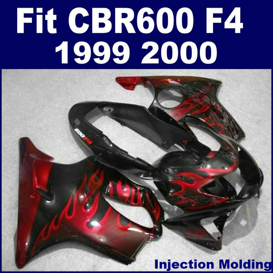 Injection molding for HONDA high fairing CBR 600 F4 1999 2000 black with red flame 99 00 cbr 600 f4 fairing part 45GH