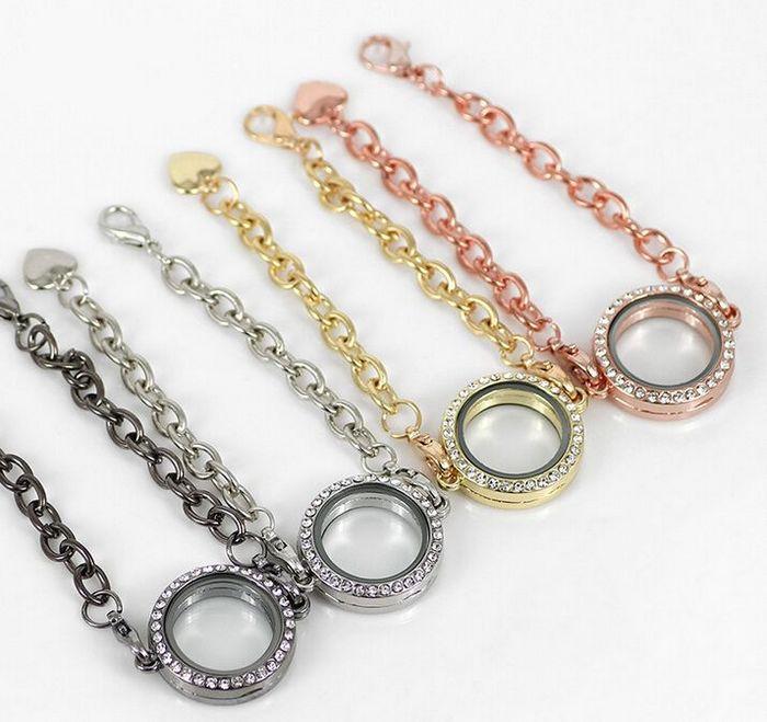 10 Teile / los Mix Farben 25 MM Runde Kristall Schwimm Medaillon Armband Magnetische Glas Living Medaillon Armreif Für Frauen Schmuck
