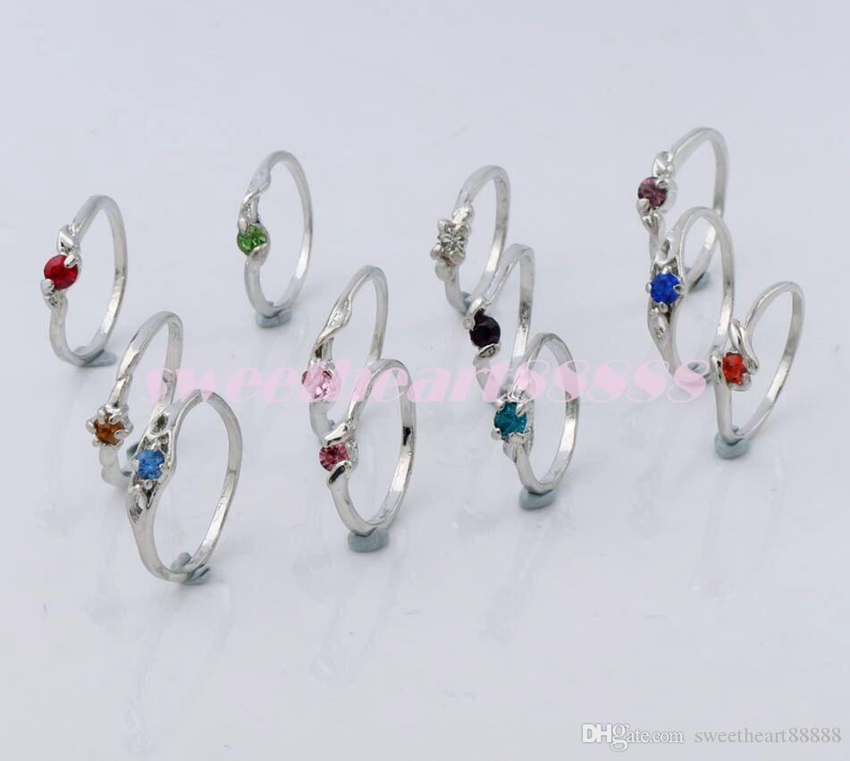 100 stks / partij Verzilverd Mix Stijl Rhinestone Crystal Rings Fit voor Bruiloft Verjaardag Graduation Party Mode-sieraden