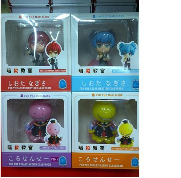 4 Unids / set Asesinato Aula Figuras Korosensei Shiota Nagisa Akabane Karuma PVC Figura de Acción Juguetes Modelo de Colección Muñecas EMS