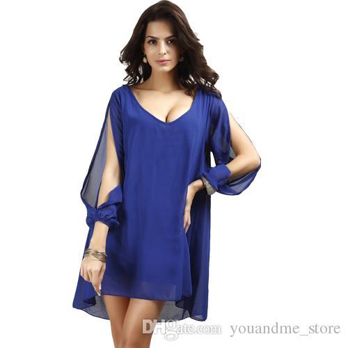 1156cf82fa5 Fashion Summer Autumn Dresses Sexy O-neck Long Sleeve Casual Loose ...