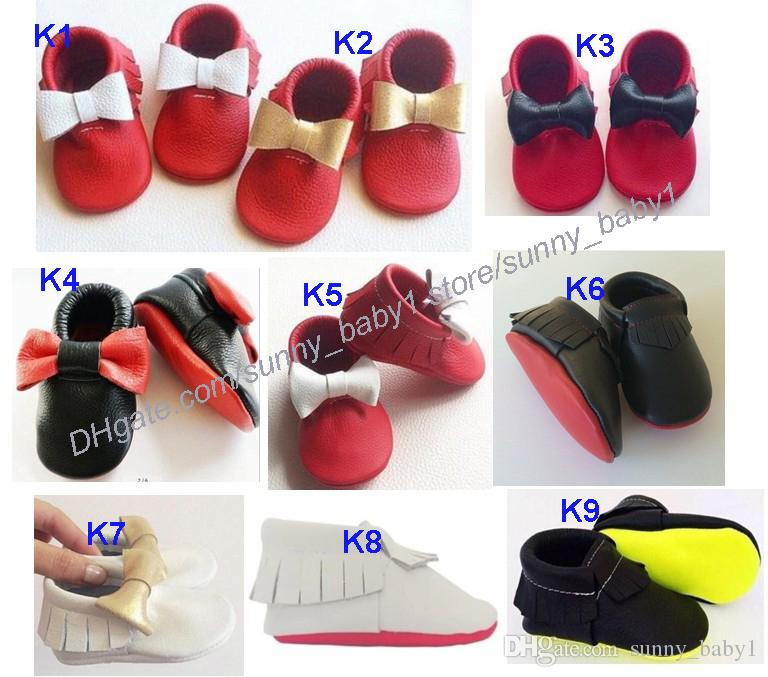 New mixed colour baby bow fringe moccsins shoes genuine leather moccasin soft leather moccs baby booties toddler tassel shoes