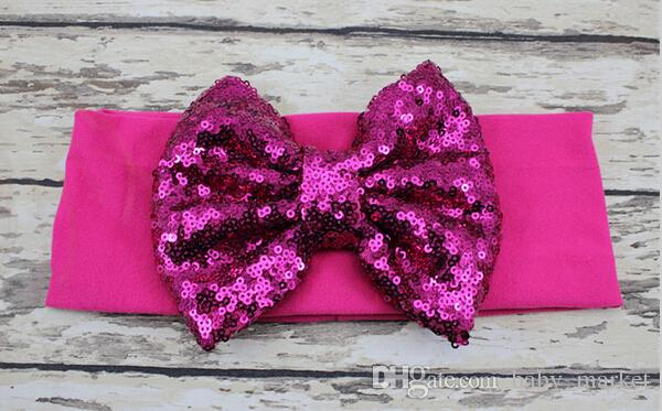 New 5.3 inch Big Sparkle Bow Headbands for Girl Hair Accessories Fashion Sequin Bow Head wrap Baby Top Knot Headband