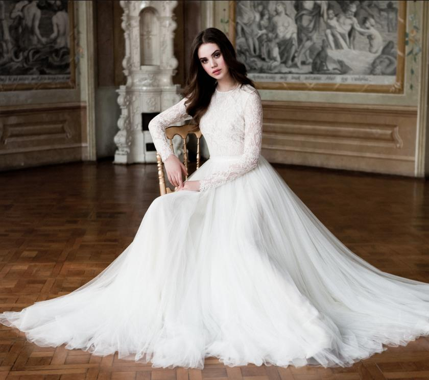 63386d1ff29 Modest Muslim Wedding Dresses 2019 With Long Sleeves High Neck Lace Draped  Tulle Sheer Back Arabic Islamic Vintage Plus Size Bridal Dress Muslim  Wedding ...