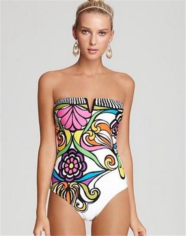 البرازيل نمط المرأة قطعة واحدة ملابس ملونة زهرة المطبوعة الصيف وبحر مثير عارية الذراعين مثلث المايوه جودة عالية AF416