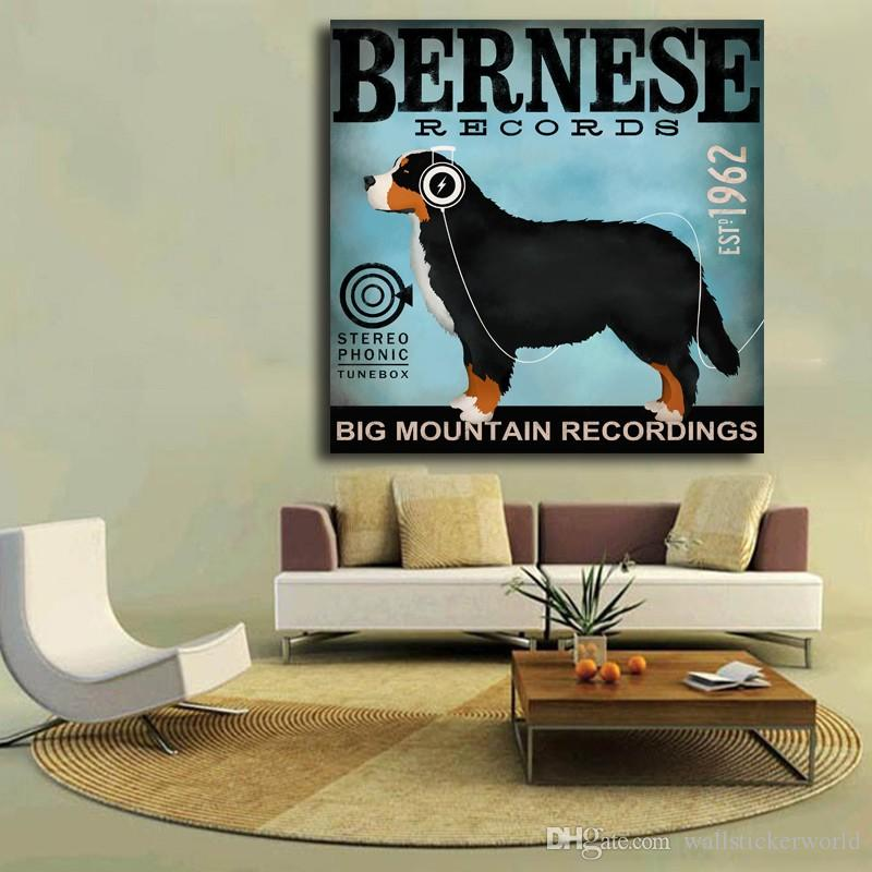 Bernese Dog Hearing Music Animal Oil Painting Poster Pictures Canvas Painting Printed On Canvas Home Decor Wall Art No Framed