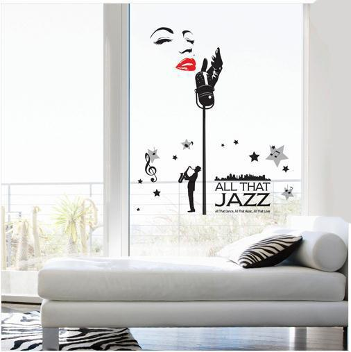 Sexy Girl Singing Musical Note Wall Art Decal Sticker DIY Home Decoration Decal All That Jazz Concert Wall Quote Decor Poster