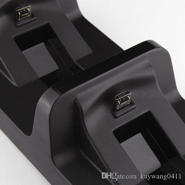 듀얼 USB 무선 충전 충전기베이스 독 스테이션 스탠드 홀더 지원 PS4 PlayStation 4 게임 컨트롤러 W / USB 케이블 블랙 충전기
