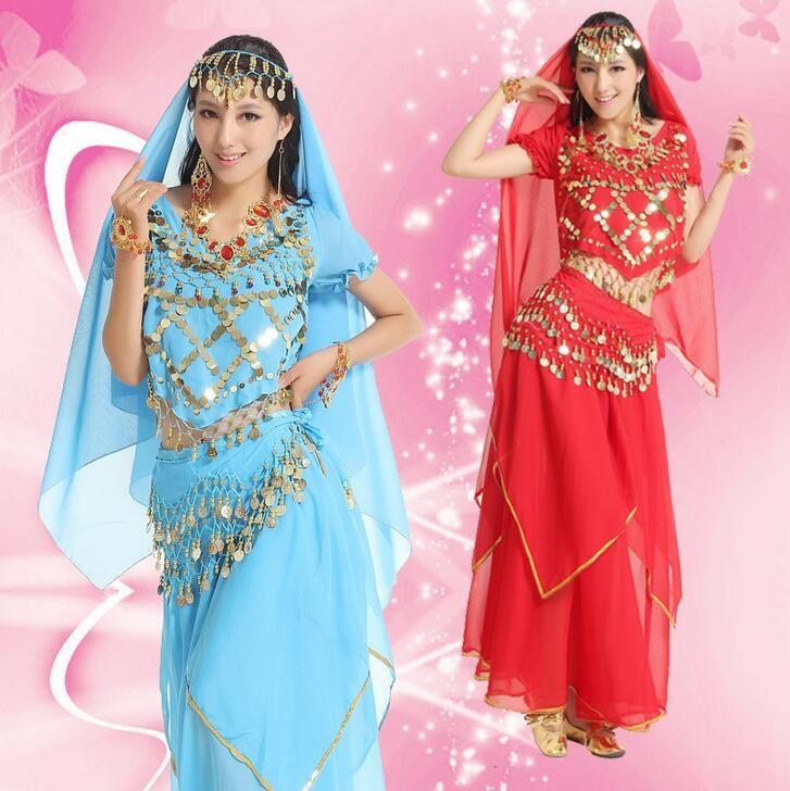 2016 Egyptian Belly Dance Costume Top&Skirt&Waist Chain&Veil Women'S Dance Clothing Bellydance Costume Professionals