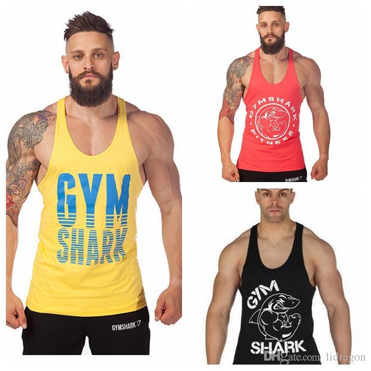 3d04207667e757 2019 New Arrival Gym Shark Stringer Tank Top Men Gymshark Bodybuilding And  Fitness Men S Singlets GYM Tank Shirts Sports Tank Top From Lidragon