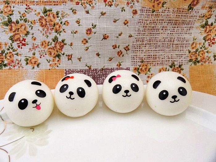 NEW Cute 4cm Panda Squishy Kawaii Buns Bread Charms Bag/Key/Cell Phone Straps Pair Random Soft Panda Squishy Bread Semll