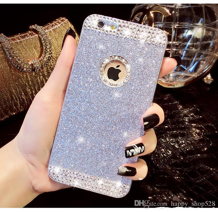 Luxury Fashion diamond pure hand stick drill flash powder phone case for iphone 4 4s 5 5s 6 6s/6 plus /6s plus dhl shipping