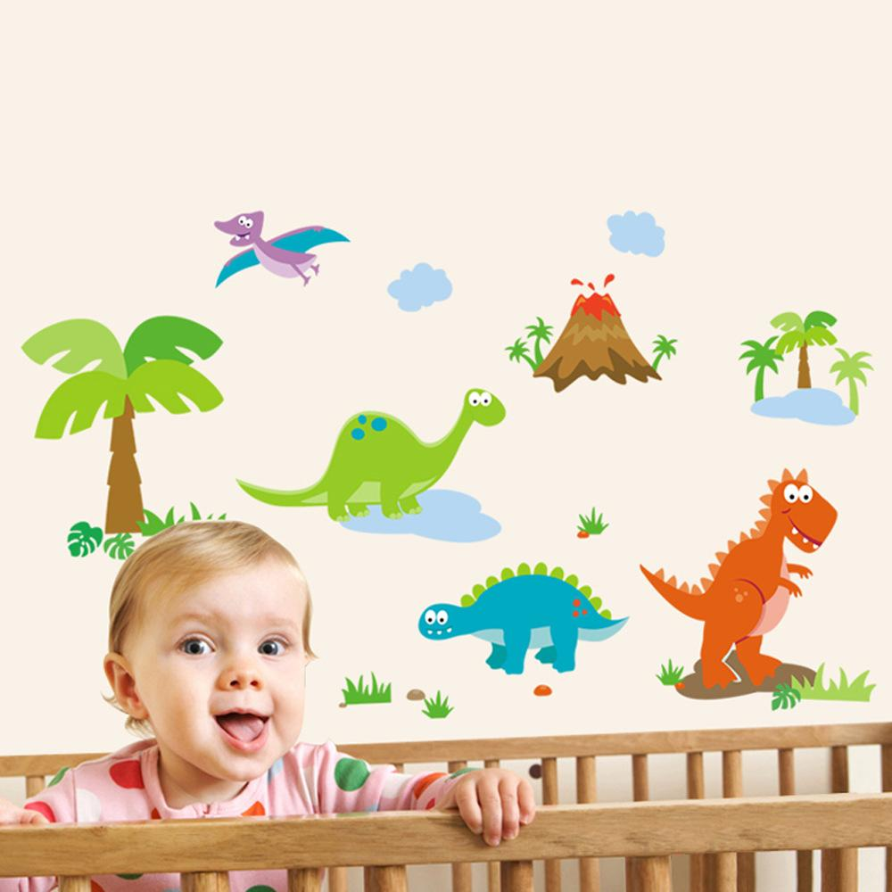 Lovely Dinosaur Paradise Wall Art Decal Sticker Decor for Kid's Nursery Room Home Decorative Murals Posters Wallpaper Stickers
