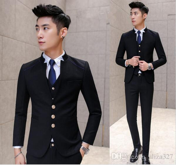 Fashionable men's suit jacket design China red classic black Fit dress suit best man suit the freedom to choose the classic red and black ye