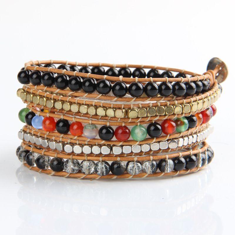 Elegant Women Beaded Bracelets Natural Agate CCB Leopard 5 Wraps Winding Unisex Luxury Multicolor For Wholesale Christmas Gift