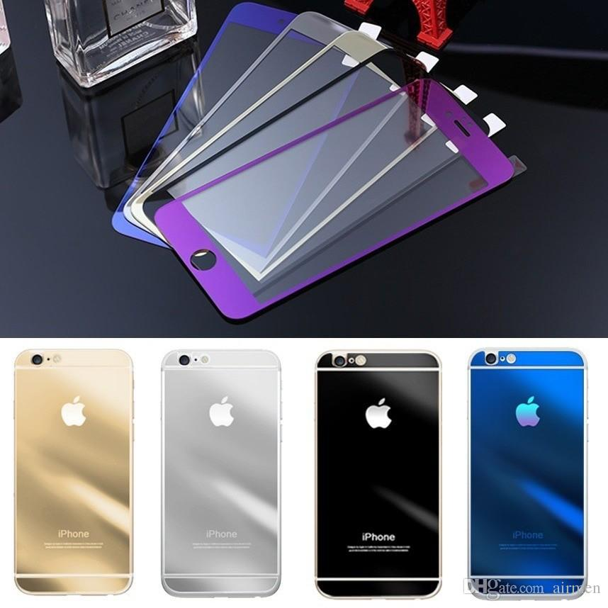 2015 For iPhone6 glass film Color Mirror plating tempered glass Screen Protector for iPhone 6 6plus 4.7 5.5inch front and back