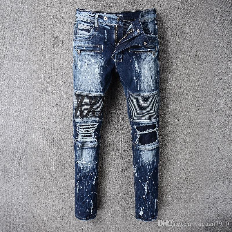 719203c6fa7f1 2018 New Style Men Streetwear Rock Revival Men Jeans Studs Denim ...