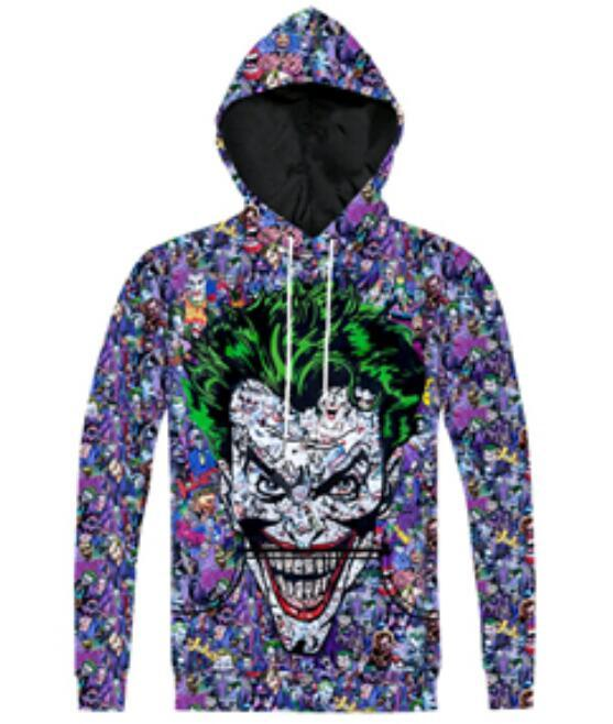 New Fashion Couples Men Women Unisex Joker Suicide Squad Clown 3D Print Hoodies Sweater Sweatshirt Jacket Pullover Top S-6XL TT138