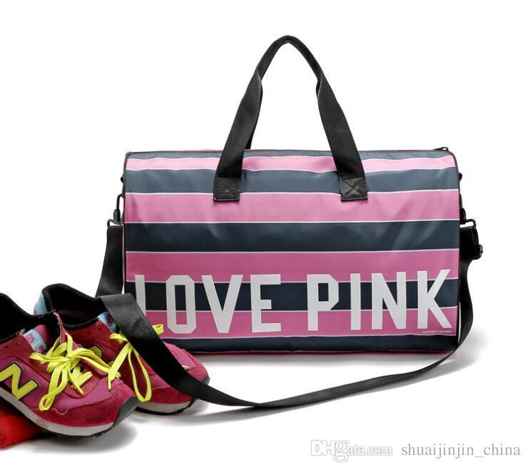 a044b33169 Women Love Pink Handbags Pink Letter Large Capacity Travel Yoga ...