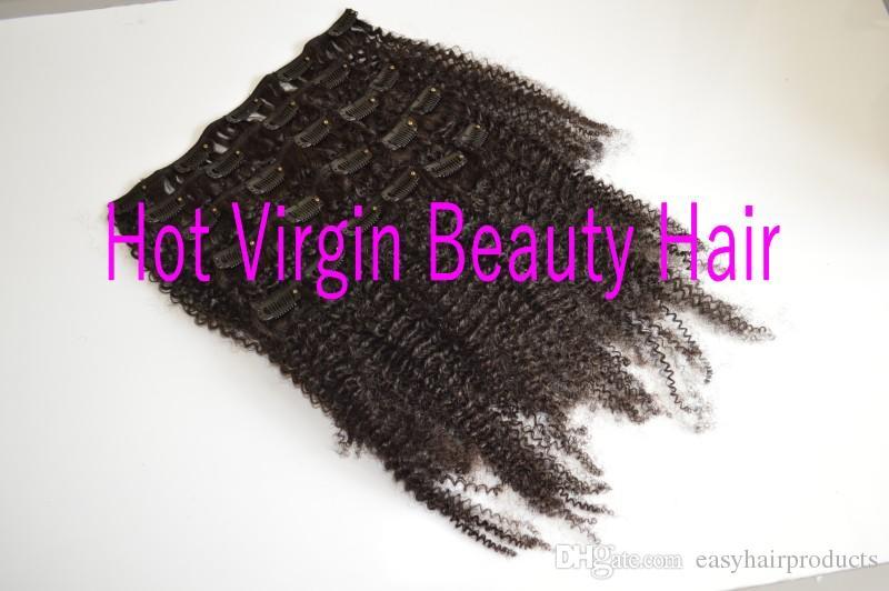 8-22inch Clip-Ins Haarfunktionen, Top-Klasse 3C / 4A-Jungfrau-menschliches Haar Brasilianische Clip-Ins-Haarwege, natürliche Farbe Kein Farbstoff, kann gefärbt werden, g-einfach