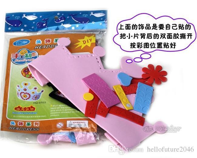 Nieuwe Collectie DIER DIY Craft Handicraft Eva Sticker Verjaardag Crown Hat Cap Kids Kinderen Puzzel Educatief Speelgoed
