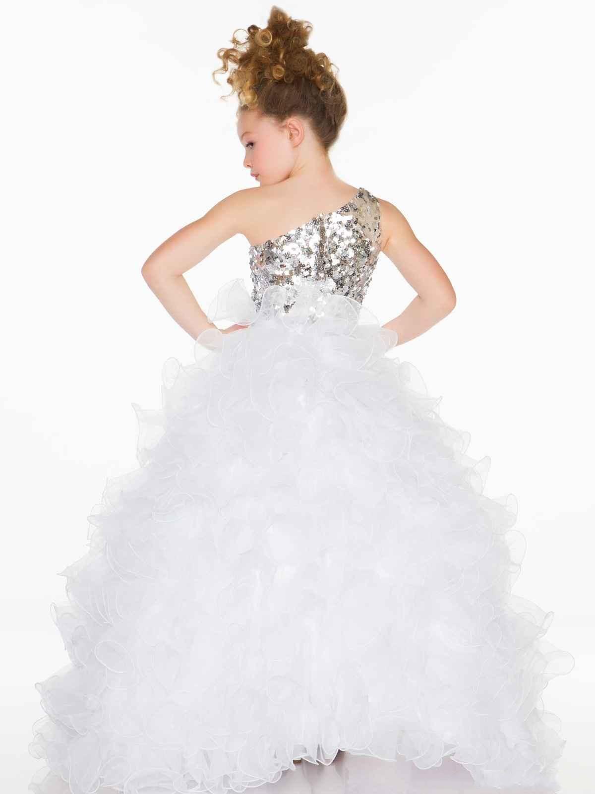 2015 Glitz Cekiny Jedno ramię Kwiat Dziewczyna Suknie Śliczna Princess Pleat Organza Fuchsia Biała Suknia Balowa Little Flower Girl Pagewant Sukienka