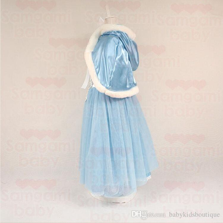 Baby Girl Tutu Lace Ruffled Frozen Dress With Hoodie Cape Poncho Fleece and Lace Princess Puff Shoulder Christmas Party Dresses Baby Clothes